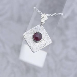 Garnet Pendant made with sterling silver by iana jewellery