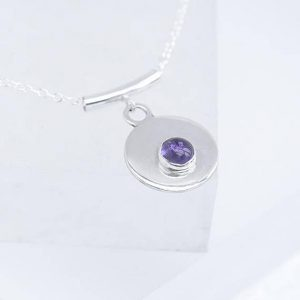 round silver pendant with Amethyst in the centre, Amethyst Pendant