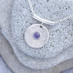 round disc Amethyst Pendant made in silver with hammered texture by iana Jewellery ips74