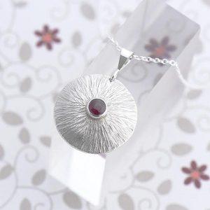 Garnet Pendant in sterling silver by iana Jewellery
