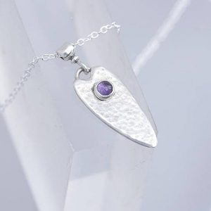 heart shape Amethyst Pendant made in silver made with silver and 9ct gold by Ian Caird of iana Jewellery