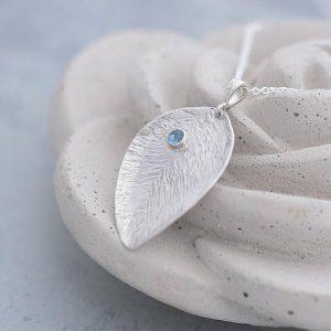 Topaz Pendant, lead shape silver pendant with blue Topaz by Ian caird of iana Jewellery