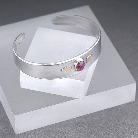 silver and Ruby bangle