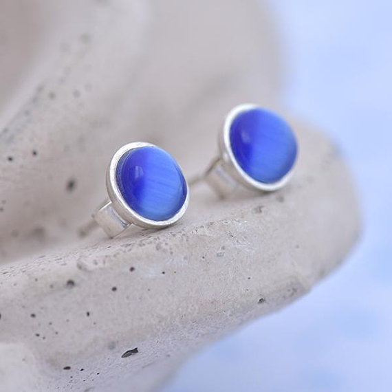 blue cats eye earrings, handmade jewelry, jewellery maker Canterbury Kent