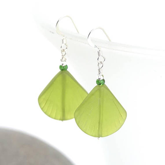 cultured sea glass earrings, handmade jewelry, jewellery maker Canterbury Kent