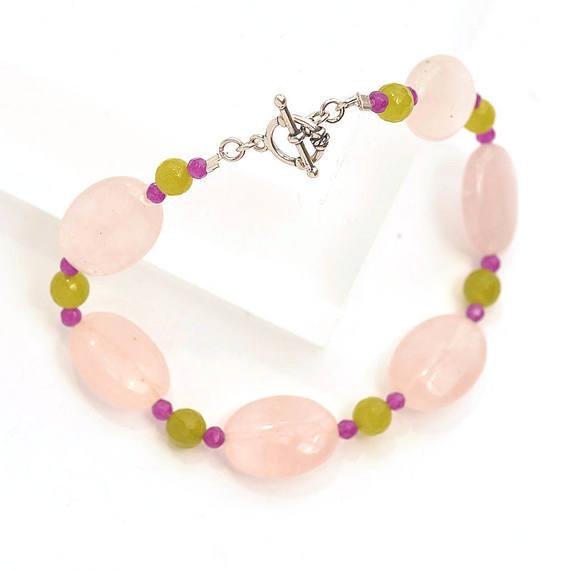 rose quartz bracelet, handmade jewelry, jewellery maker Canterbury Kent