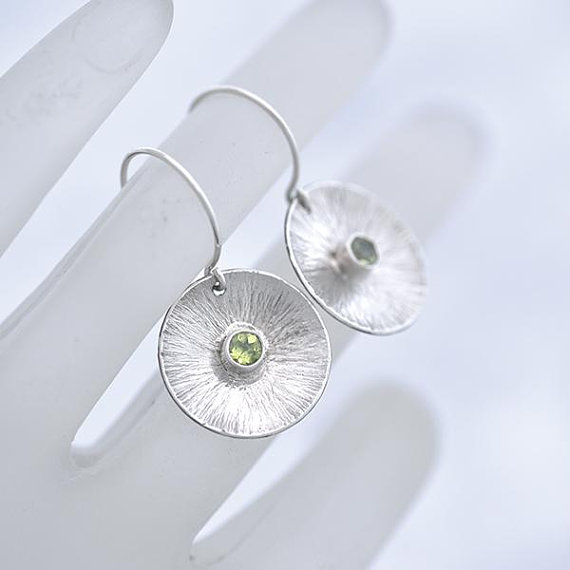Round Silver Peridot Earrings iana jewellery maker Canterbury Kent