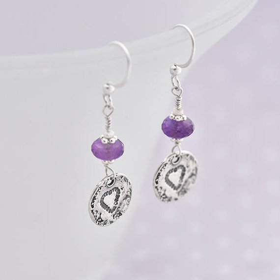silver heart earrings with Amethyst