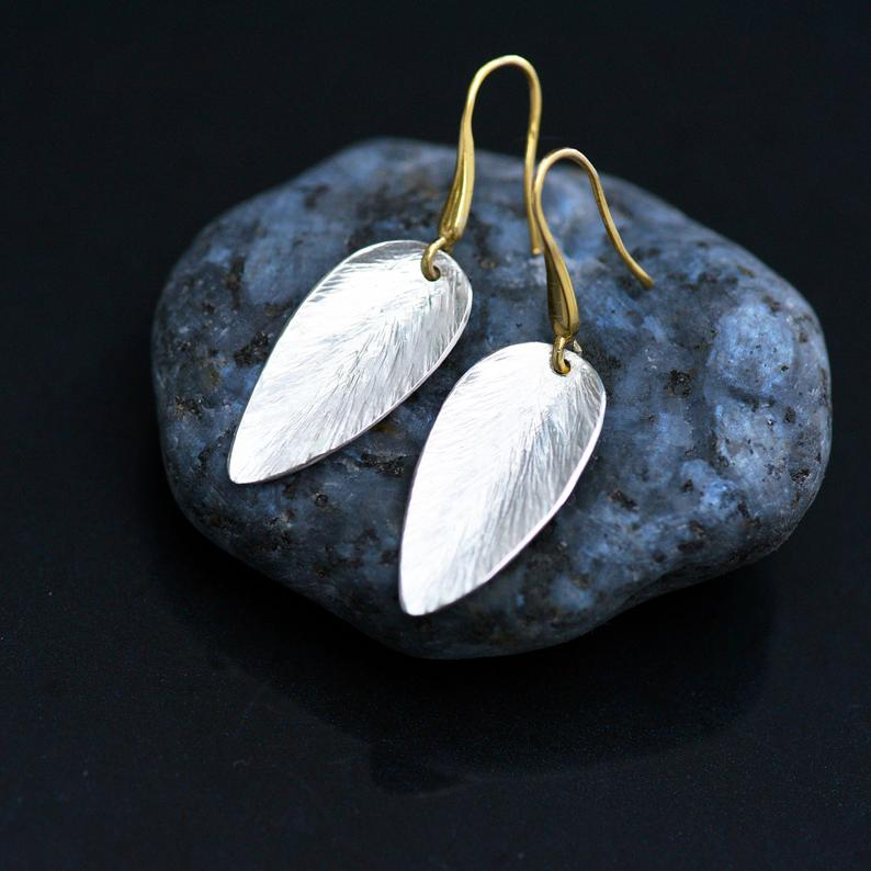 Silver leaf style earrings