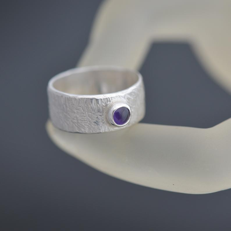 Wide Band Amethyst Ring size Q